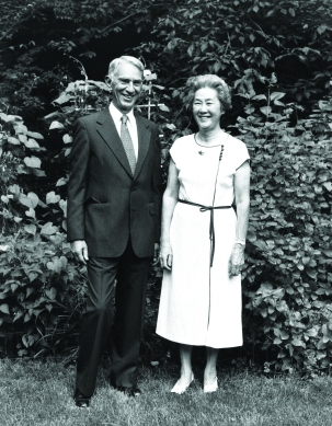 Edwin Reischauer (pictured here with his wife Haru) graduated from ASIJ in 1927 and later served as ambassador to Japan (1961-1966)