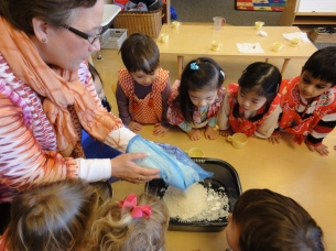 We got to see how to make mochi from rice