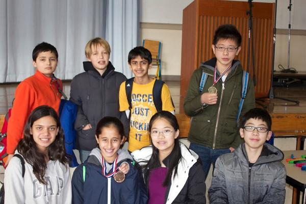 Back row: Sammy Barkal (5th) , Odon Cahierre, Dev Gulati , Shaw Hagiwara, (1st) Front row:  Ria Paradkar (6th),  Pria Gokhale (3rd)  Kaitlyn Wu, Everett Xu
