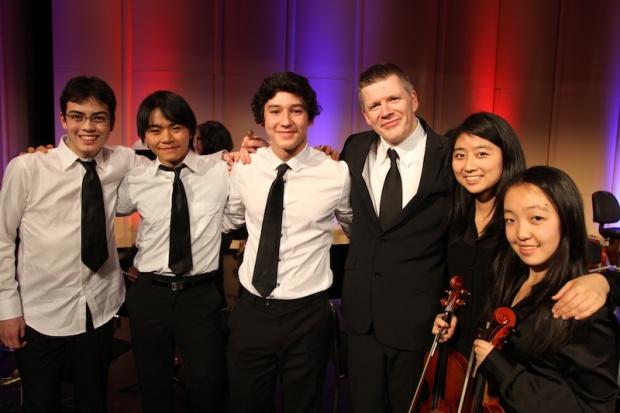 Sophomore Jeremy Moore, senior Ho Man Leung, freshmen Kenta Yaegashi, guest conductor John Bergin from Ireland, senior Mariko Kanai, and senior Maaya Murakami.