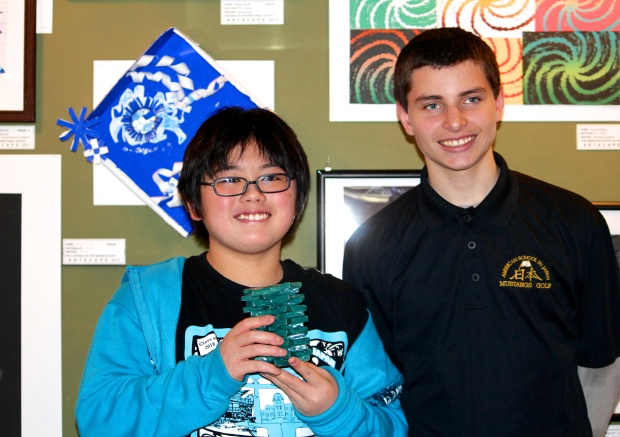 Hikaru (grade 7) and Sam (grade 8) at the opening reception for Artscape