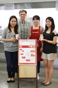 Mary Kim, Marty Tromburg, Sanae Ishihara and Mariko Kanai show off the yogurt parfait