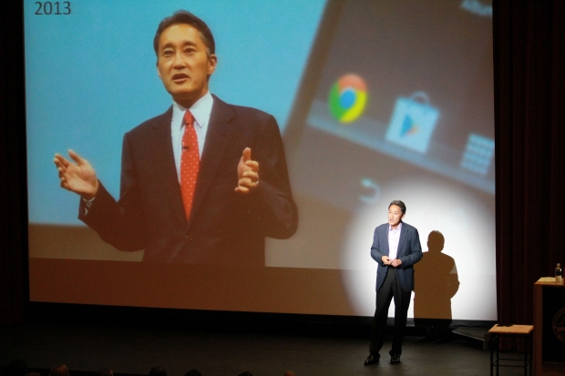 Sony CEO Kaz Hirai speaks to high school students at ASIJ's Ricketson Theater on Sept. 10