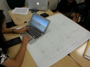 Geometry 2015 Brain storming on table Floor plan on paper 3D design on computer